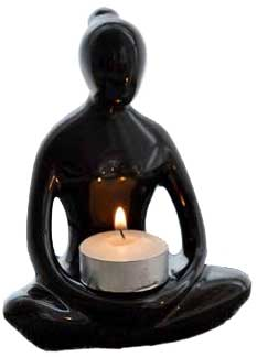 Black Yoga Lady tealight 5 1/2""
