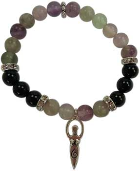 8mm Flourite/ Black Stone Goddess